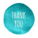 Το μπλε, κύκλος watercolor μεντών με τις λέξεις ευχαριστεί εσείς απομόνωσε σε ένα άσπρο υπόβαθρο Στοκ εικόνα με δικαίωμα ελεύθερης χρήσης