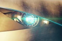 Το μπλε μάτι cyber με το μέσο όρο κοιτάζει απεικόνιση αποθεμάτων