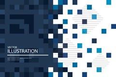 Το μπλε μωσαϊκό, αφαιρεί το τετραγωνικό υπόβαθρο εικονοκυττάρων Στοκ Φωτογραφία