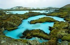 Η μπλε λιμνοθάλασσα στην Ισλανδία Στοκ Εικόνες