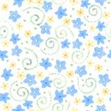 Το μπλε χαριτωμένο watercolor ανθίζει το άνευ ραφής σχέδιο Στοκ Φωτογραφίες