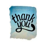 Το μπλε watercolor σας ευχαριστεί Στοκ Εικόνες