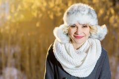 Το μυστήριο κορίτσι σε ένα πάρκο χειμερινού βραδιού εξετάζει τον ουρανό Στοκ Εικόνες