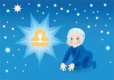 το μωρό αντέχει το σημάδι libra κάτω από zodiac Στοκ φωτογραφία με δικαίωμα ελεύθερης χρήσης