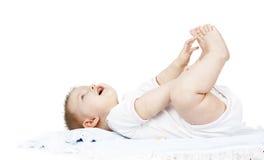 Το μωρό βρίσκεται σε μια πάνα Στοκ Εικόνα