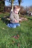 το μωρό εξερευνά τον κήπο Στοκ Εικόνα