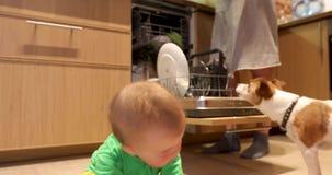 Το μωρό και η μητέρα βάζουν τα πιάτα στο πλυντήριο πιάτων απόθεμα βίντεο