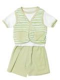 Το μωρό ντύνει το πράσινο σύνολο που απομονώνεται στο λευκό Στοκ Εικόνες