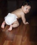 Το μωρό σέρνεται σε όλα τα fours Στοκ Εικόνες