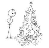Το μωρό τρώει όλη την καραμέλα από το χριστουγεννιάτικο δέντρο χωρίς άδεια Στοκ φωτογραφία με δικαίωμα ελεύθερης χρήσης