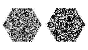 Το μωσαϊκό γέμισε τα Hexagon εικονίδια των εργαλείων υπηρεσιών διανυσματική απεικόνιση