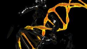 Το μόριο DNA καταστρέφεται και αλλοιώνει την περιστροφή σε ένα μαύρο υπόβαθρο διανυσματική απεικόνιση