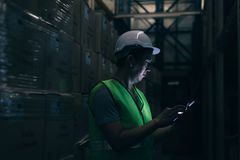 Το νέο άτομο εργαζομένων αποθηκών εμπορευμάτων με το σκληρό καπέλο ασφάλειας ελέγχει τις λεπτομέρειες διαταγής με μια ψηφιακή ταμ στοκ εικόνα