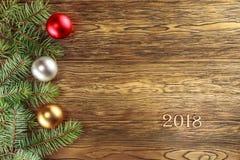 το νέο έτος 2018 Έτοιμο πρότυπο για τα συγχαρητήριά σας κορυφαία όψη στοκ φωτογραφίες με δικαίωμα ελεύθερης χρήσης