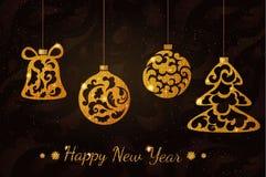 Το νέο έτος ακτινοβολεί σφαίρες Στοκ Εικόνες