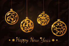 Το νέο έτος ακτινοβολεί σφαίρες Διανυσματική απεικόνιση