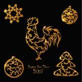 Το νέο έτος ακτινοβολεί χρυσά παιχνίδια κοκκόρων στοιχείων Απεικόνιση αποθεμάτων