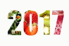 Το νέο έτος επιθυμεί τη διατροφή του 2017 Στοκ Εικόνα