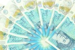 Το νέο βρετανικό πολυμερές σώμα σημείωση πέντε λιβρών που χαρακτηρίζει το ενισχυμένο counterfei Στοκ Εικόνα