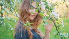 Το νέο ευτυχές περπάτημα γυναικών σε έναν οπωρώνα μήλων ανθίζει την άνοιξη το λευκό Πορτρέτο ενός όμορφου κοριτσιού φιλμ μικρού μήκους