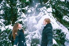 Το νέο ζεύγος απολαμβάνει το χιόνι Στοκ Εικόνες
