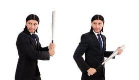 Το νέο κομψό άτομο κοστούμι που απομονώνεται στο μαύρο στο λευκό στοκ φωτογραφίες