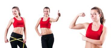 Το νέο κορίτσι με το εκατοστόμετρο να κάνει δίαιτα στην έννοια Στοκ φωτογραφία με δικαίωμα ελεύθερης χρήσης