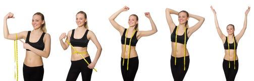 Το νέο κορίτσι με το εκατοστόμετρο να κάνει δίαιτα στην έννοια Στοκ εικόνα με δικαίωμα ελεύθερης χρήσης