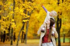 Το νέο κορίτσι μητέρων και μικρών παιδιών έχει τη διασκέδαση στο φθινόπωρο Στοκ εικόνα με δικαίωμα ελεύθερης χρήσης