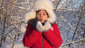 Το νέο κορίτσι φυσά snowflakes από τα χέρια της, στο χειμερινό πάρκο, αναμμένο από το ηλιοβασίλεμα Ευτυχή φυσώντας snowflakes κορ απόθεμα βίντεο