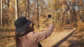 Το νέο κορίτσι blogger είναι μαγνητοσκόπηση ο ίδιος τηλεφωνικώς στον περίπατο στο δάσος φθινοπώρου απόθεμα βίντεο