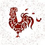Το νέο κόκκινο έτους ακτινοβολεί κόκκορας Ελεύθερη απεικόνιση δικαιώματος