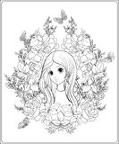 Το νέο συμπαθητικό κορίτσι με ακούει πολύ στον κήπο των τριαντάφυλλων Περίληψη δ απεικόνιση αποθεμάτων