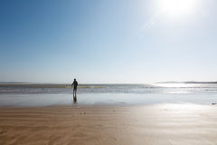 Το νέο τρέξιμο αγοριών στην ωκεάνια παραλία θέλει να πιάσει μια σφαίρα από το wate Στοκ φωτογραφία με δικαίωμα ελεύθερης χρήσης