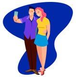 Το νέο χαριτωμένο εύθυμο ζεύγος ερωτευμένο παίρνει selfie στο επίπεδο ύφος Δροσερό επίπεδο ζεύγος χαρακτήρα που στέκεται θέτοντας ελεύθερη απεικόνιση δικαιώματος