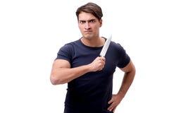 Το νέο mobster με το μαχαίρι που απομονώνεται στο λευκό Στοκ Φωτογραφία
