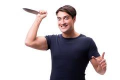 Το νέο mobster με το μαχαίρι που απομονώνεται στο λευκό Στοκ εικόνα με δικαίωμα ελεύθερης χρήσης