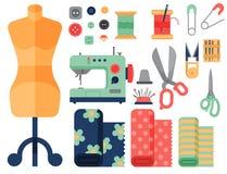 Το νήμα παρέχει τα εξαρτήματα που ράβουν τη διανυσματική απεικόνιση ραπτικής τεχνών καρφιτσών μόδας προσαρμογής εξοπλισμού απεικόνιση αποθεμάτων