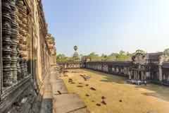 Το ναυπηγείο μεταξύ των δεύτερων και τρίτων συνημμένων, Angkor Wat, Siem συγκεντρώνει, Καμπότζη Στοκ Φωτογραφία