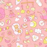 Το νεογέννητο νήπιο doodle το άνευ ραφής σχέδιο Προσοχή μωρών, τροφοδότηση Στοκ Εικόνες