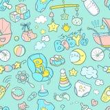 Το νεογέννητο νήπιο doodle το άνευ ραφής σχέδιο Προσοχή μωρών, τροφοδότηση Στοκ φωτογραφίες με δικαίωμα ελεύθερης χρήσης