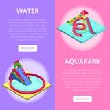 Το νερό Aquapark γλιστρά τα isometric κάθετα ιπτάμενα απεικόνιση αποθεμάτων