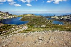 Το νεφρό, το δίδυμο, Trefoil, τα ψάρια και οι χαμηλότερες λίμνες, οι επτά λίμνες Rila, βουνό Rila Στοκ φωτογραφίες με δικαίωμα ελεύθερης χρήσης