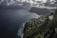 το νησί Ιταλία πόλεων capri grande άφησε την όψη νότιου tiberio sorrentina χερσονήσων πανοράματος μαρινών monte Στοκ φωτογραφίες με δικαίωμα ελεύθερης χρήσης