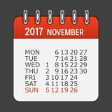 Το Νοέμβριο του 2017 ημερολογιακό καθημερινό εικονίδιο Διανυσματικό έμβλημα απεικόνισης Στοκ εικόνες με δικαίωμα ελεύθερης χρήσης