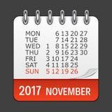 Το Νοέμβριο του 2017 ημερολογιακό καθημερινό εικονίδιο Διανυσματικό έμβλημα απεικόνισης Στοκ φωτογραφία με δικαίωμα ελεύθερης χρήσης