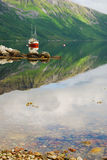 Το νορβηγικό φιορδ κάτω από το βουνό Στοκ Εικόνες