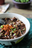το νουντλς με το μίγμα σούπας αίματος χοίρων με το χοιρινό κρέας και το λαχανικό Στοκ εικόνες με δικαίωμα ελεύθερης χρήσης