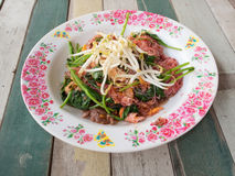 Το νουντλς με το χοιρινό κρέας στη σόγια στοκ φωτογραφίες