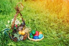 Το ντεκόρ Πάσχας και τα χρωματισμένα αυγά Πάσχας βρίσκονται στην πράσινη χλόη διάστημα αντιγράφων Στοκ Εικόνες